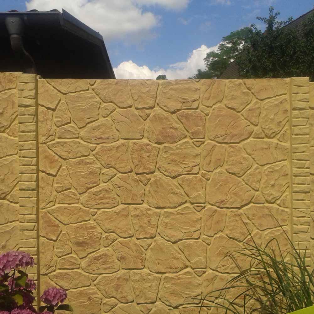 Zaun Einseitig Betonzaun Platten Felsoptik Felsoptik