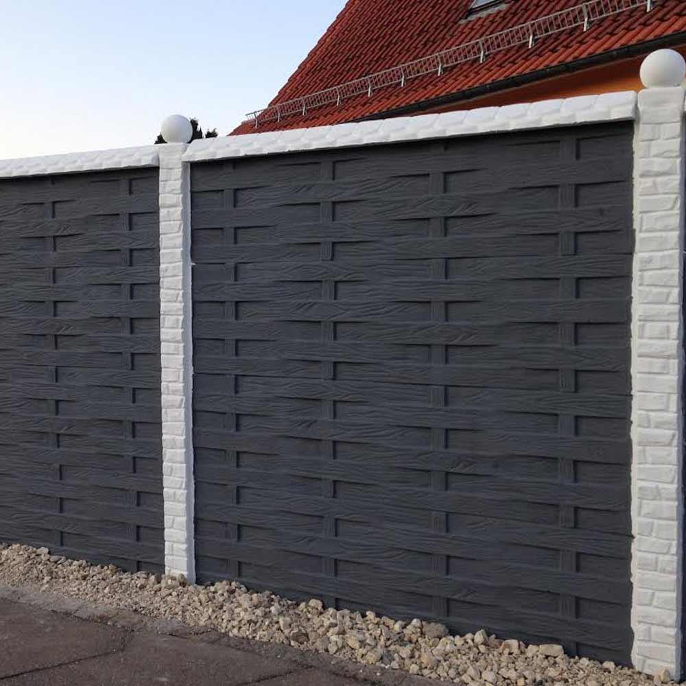 Zaun Einseitig Betonzaun Platten Holzoptik Holzoptik
