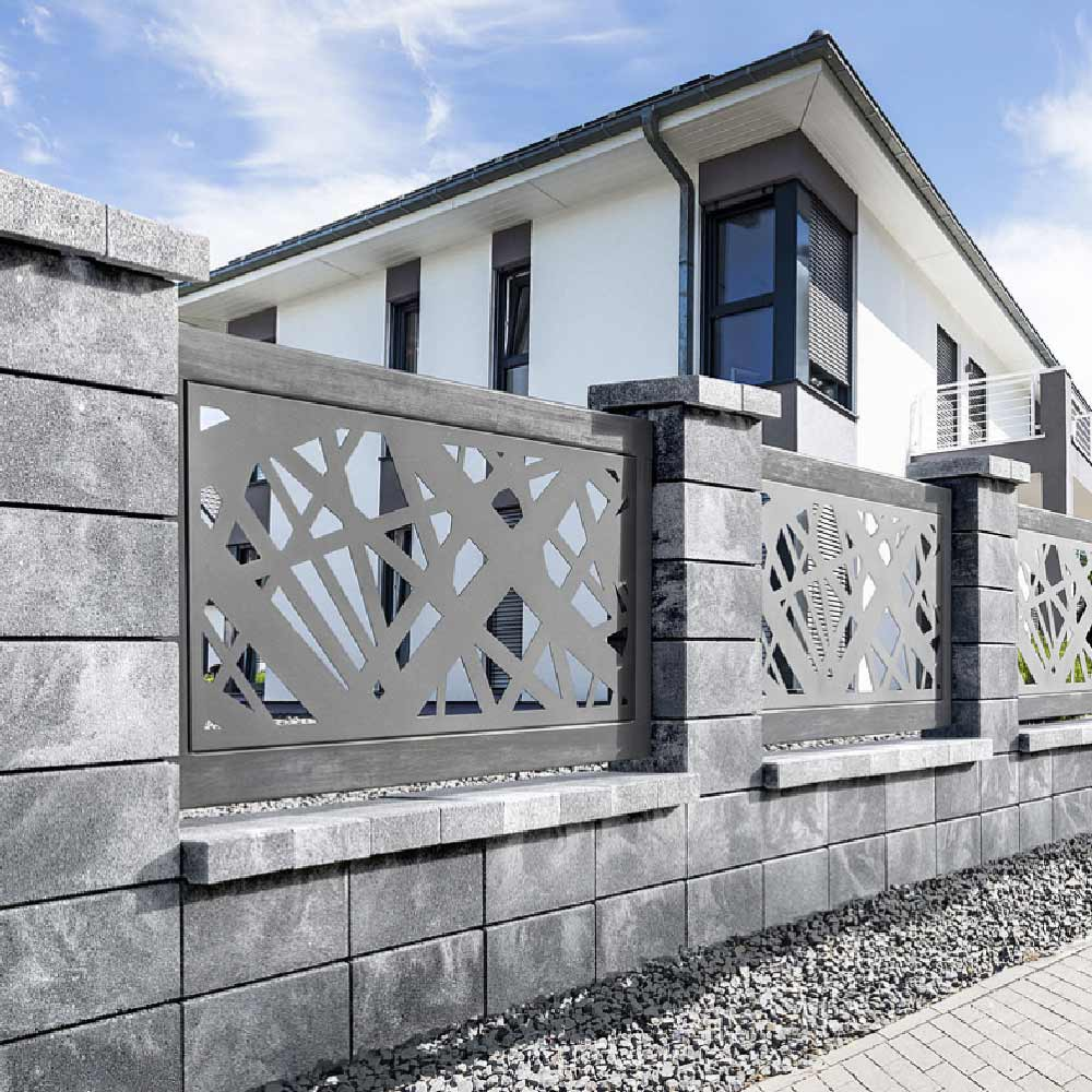 modern Betonzaun Hohlblock