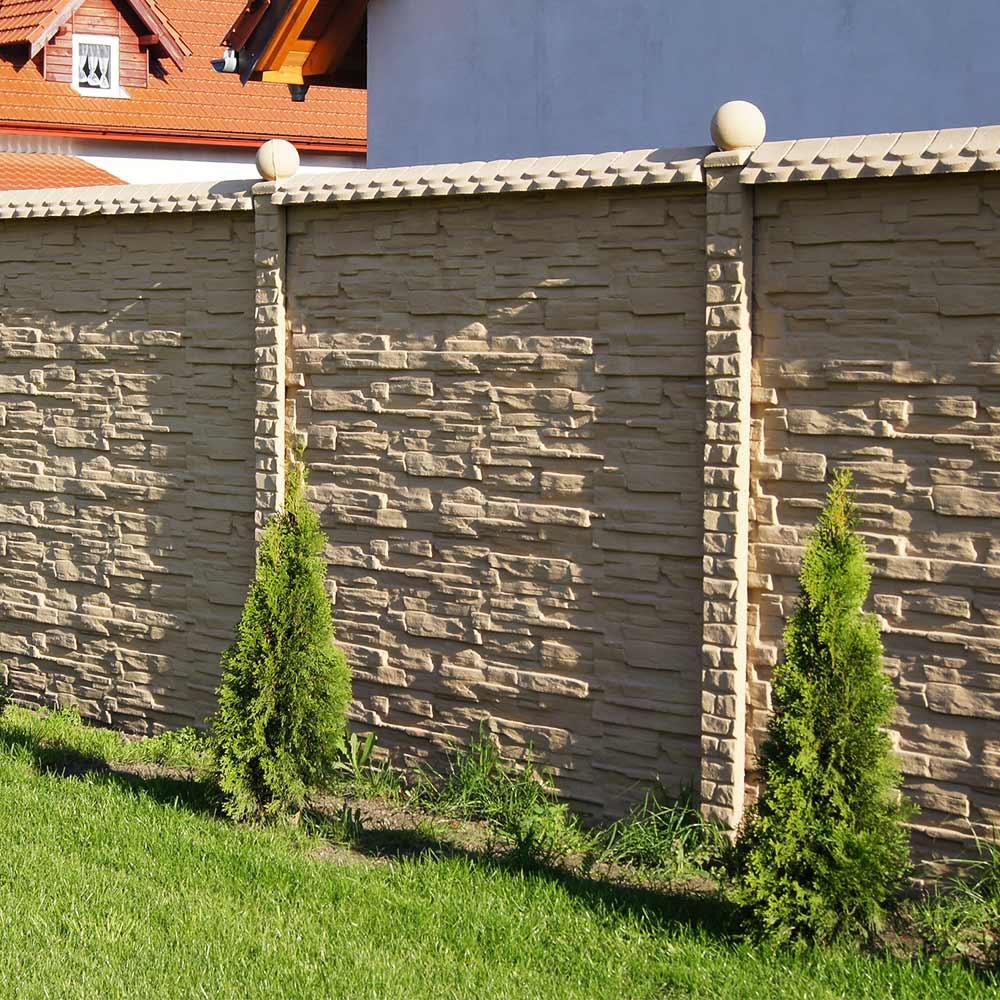 Zaun Einseitig Betonzaun Platten Sandstein Sandstein