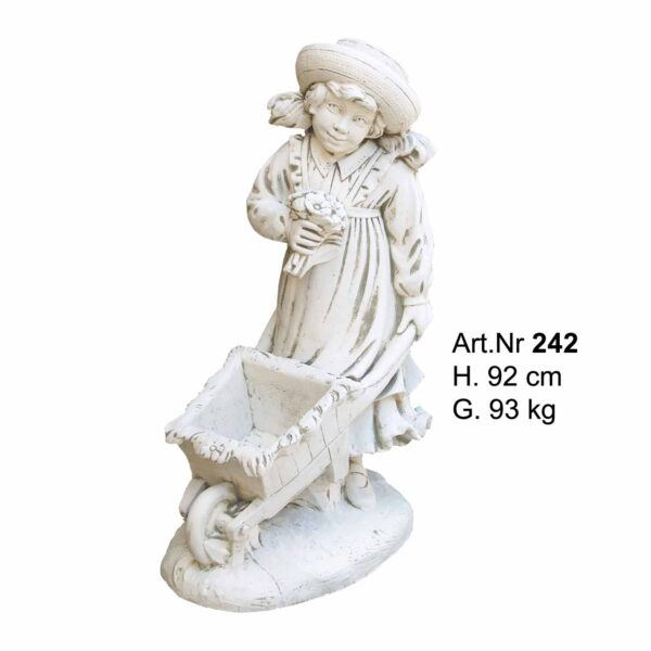 Betonfigure Gretel mit einer Schubkarre