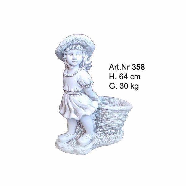 Betonfigur Kleines Mädchen mit einem Korb